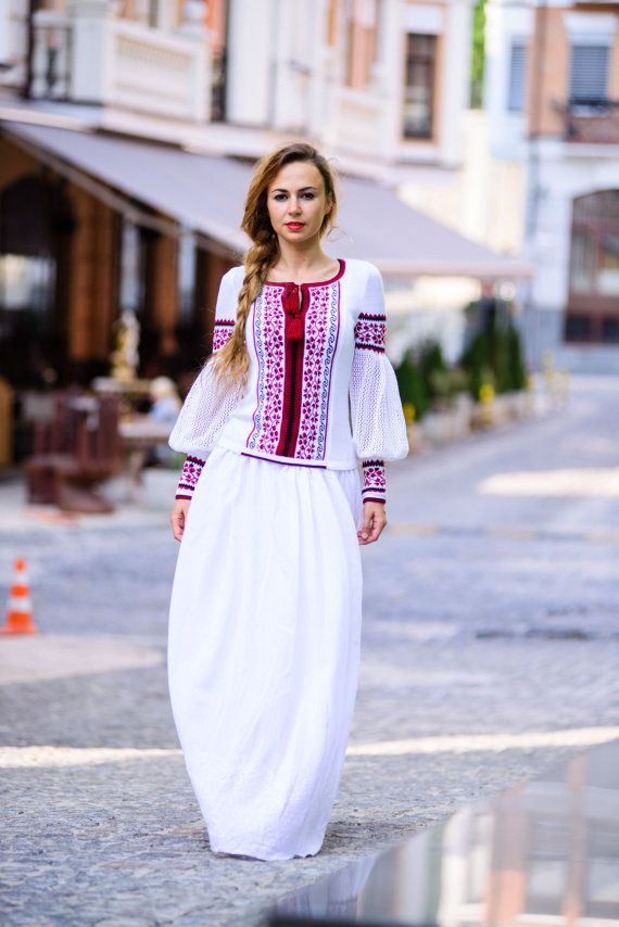 #Ukrainian #style Natural cotton knitted blouse Vyshyvanka por GrainField en Etsy