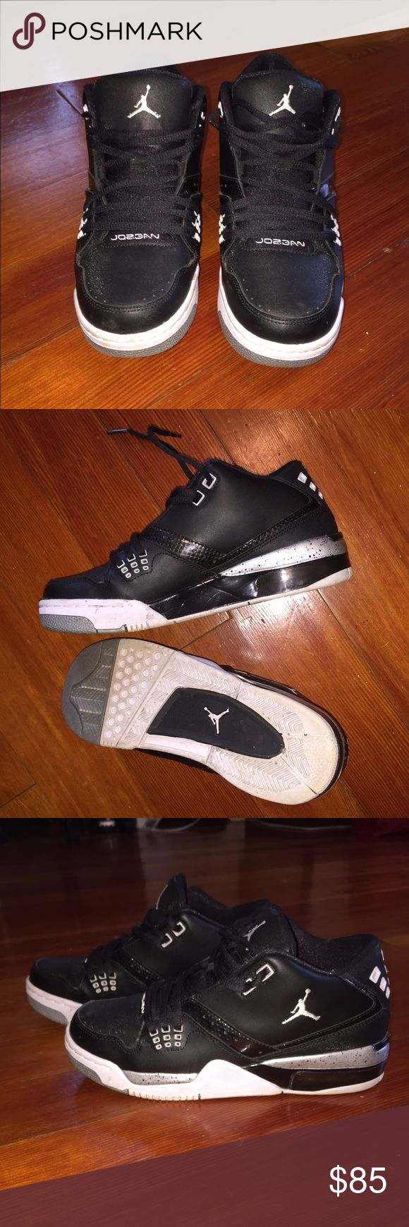 Jordan Flight 23 BG size 6.5 mens Jordan Flight 23 BG in black/white/metallic silver. Size 6.5 men's, size 8 women's. Great condition! Authentic Nike Jordans. Great condition, very light wear! Nike Shoes Sneakers