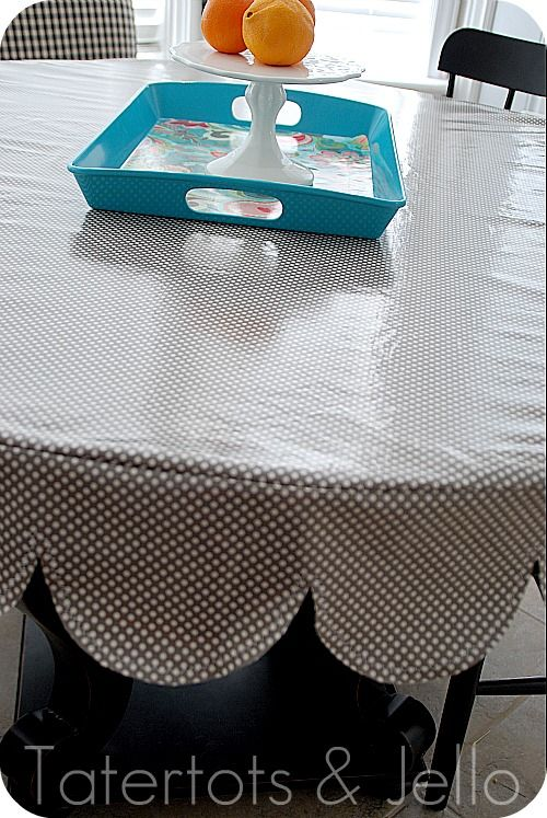 Laminated Scalloped Tablecloth Tutorial (sewing project)!! from Jen at tatertots and jello