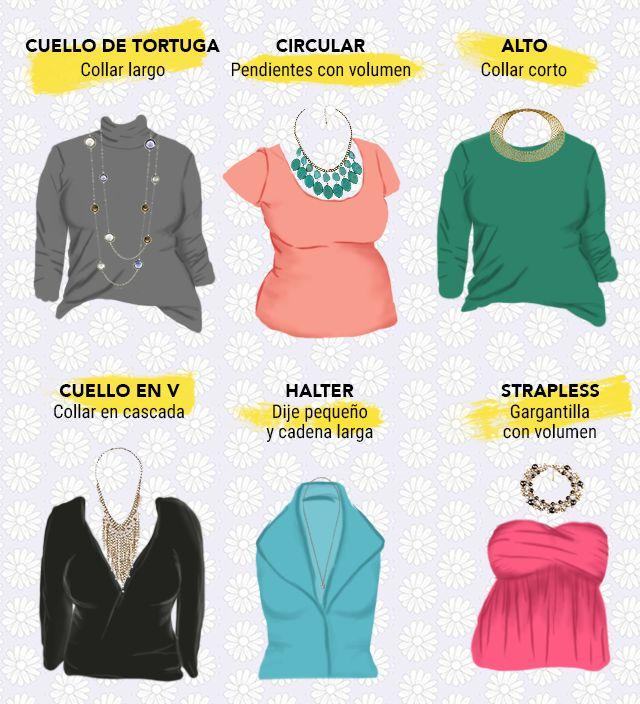 Tipos de collares según tu blusa o vestido.