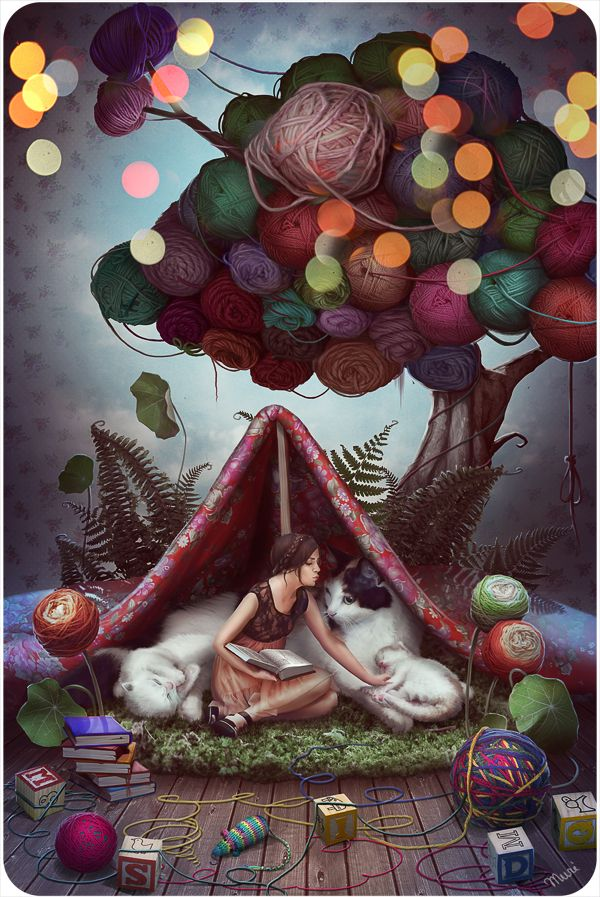 "Love this artistic expression for the love of yarncrafting (and cats of course!) ""Fairytale about a Yarn tree"" by *kidy-kat"