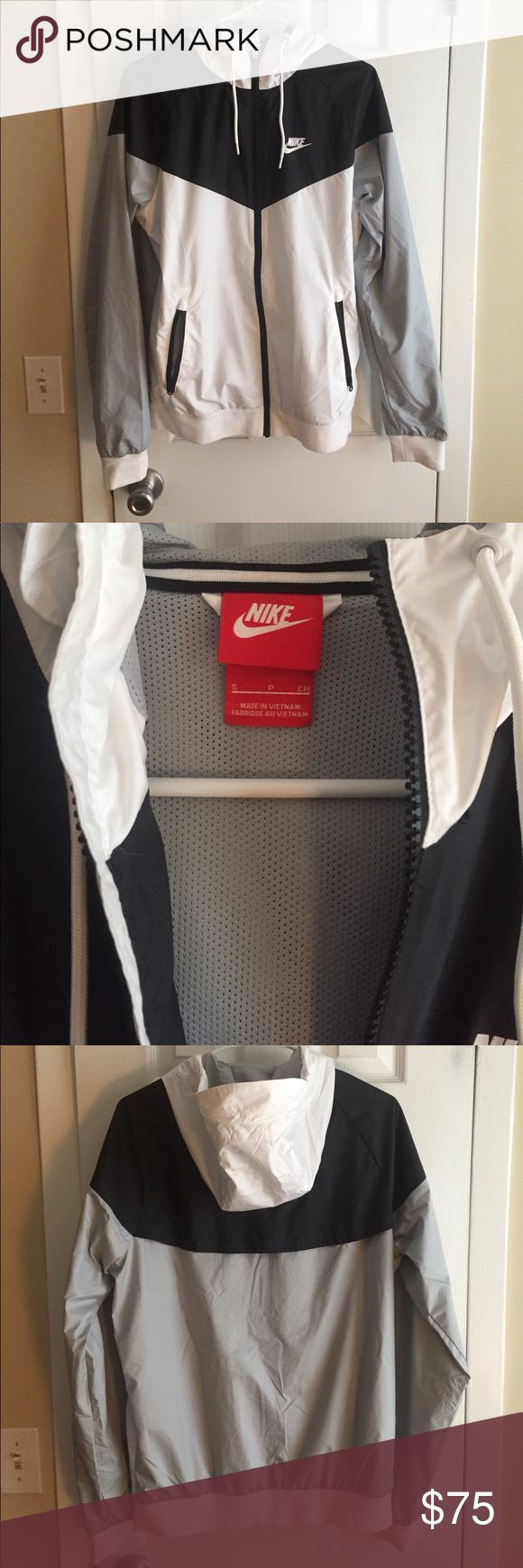 Men's Nike Windrunner Great condition, only worn a few times. Men's size small - I'm usually a small/medium in women's and the jacket fit just a little bit on me (which was the ideal fit). White, gray, and black colorblock! Nike Jackets & Coats Windbreakers