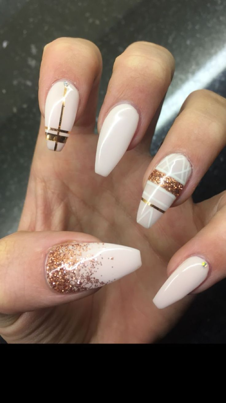 Nailspo Coffin Nails Nail Art Nudes And Rose Gold Nailart