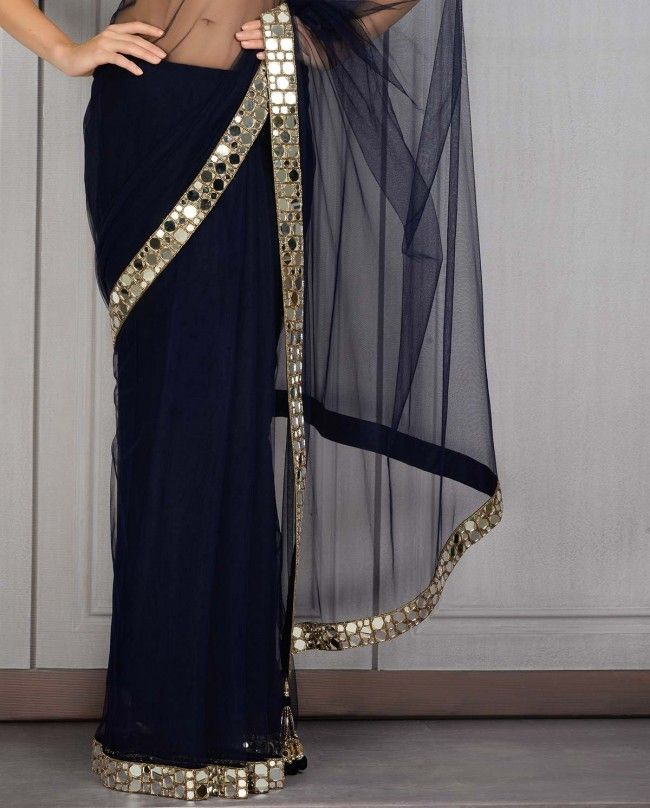 Navy Sari with Mirror Border