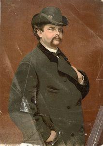 Munich et la Bavière, Louis II et Richard Wagner: Carte imprimée colorée à l'huile  du Roi Louis II ...