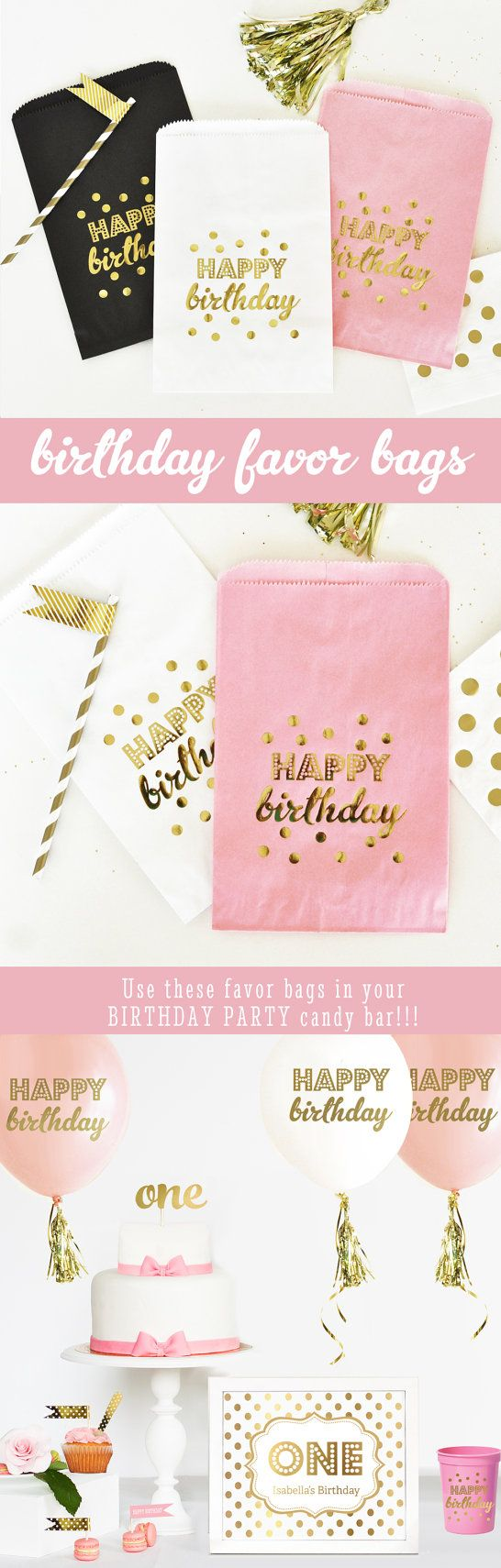 Birthday Party Bags printed with Happy Birthday Confetti in Metallic Gold are perfect for a pink and gold birthday party candy buffet. Available in pink