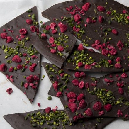 Dark chocolate, pistachio and raspberry brittle