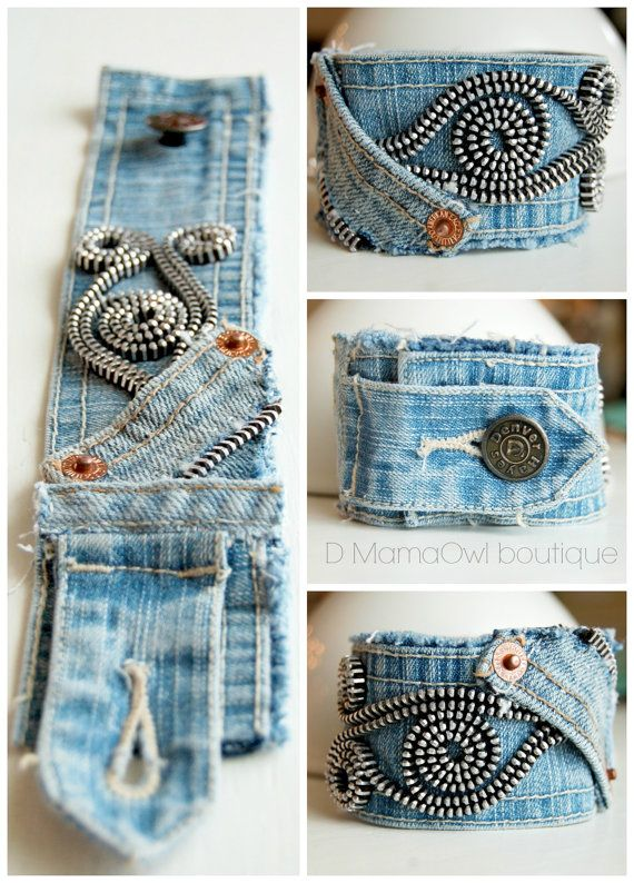 Upcycled Recycled Denim Cuff Bracelet Zipper by DMamaOwlBoutique