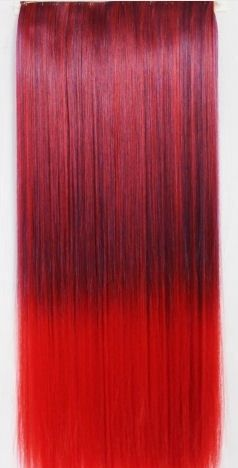 Clip in extension strook/ Ombre zwart-rood / 60 cm