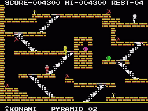 King's Valley, jeux du MSX. Le but est de récupérer des diamant, est éviter, les momies. J'adore !