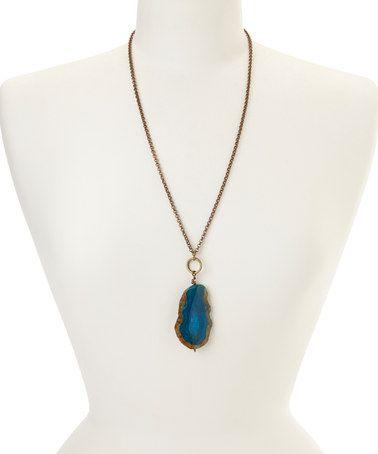 Look at this #zulilyfind! Turquoise Agate Pendant Necklace #zulilyfinds