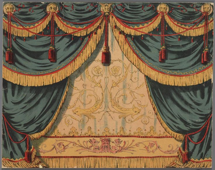 Papieren theater in kleur, voorstellende een voordoek lots of freebies