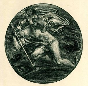 Infant god riding on Mercury's back over the sea; three dolphins in the water beneath; circular; published in 'The Dial' No 5 (1897) Lithograph in dark-green ink