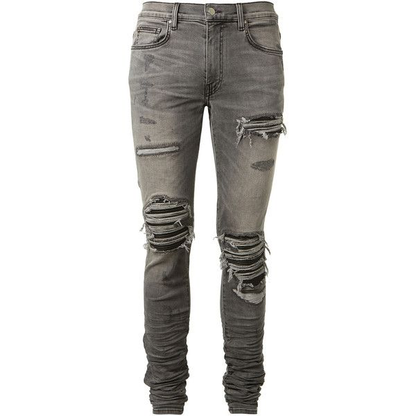 Amiri Mx1 Jeans Grey ($1,080) ❤ liked on Polyvore featuring men's fashion, men's clothing, men's jeans, pants, mens gray jeans, mens pleated jeans, mens destroyed jeans, mens skinny fit jeans and mens distressed jeans