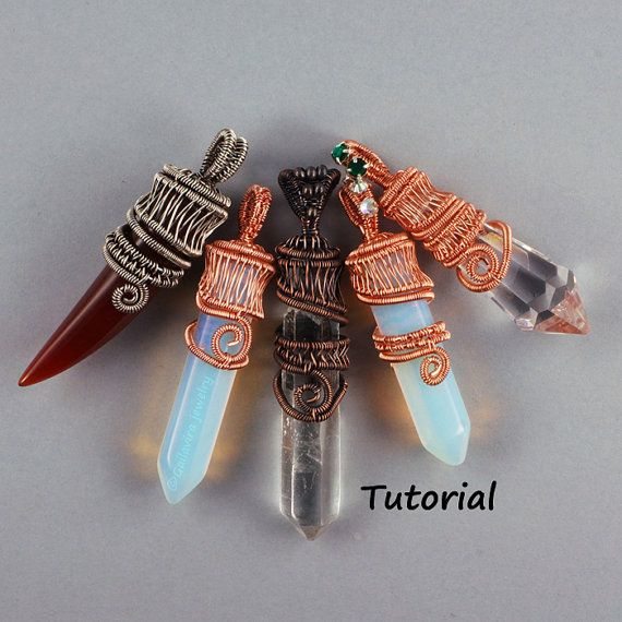 Wire Woven Crystal Point Pendant Wire by WireJewelryTutorials