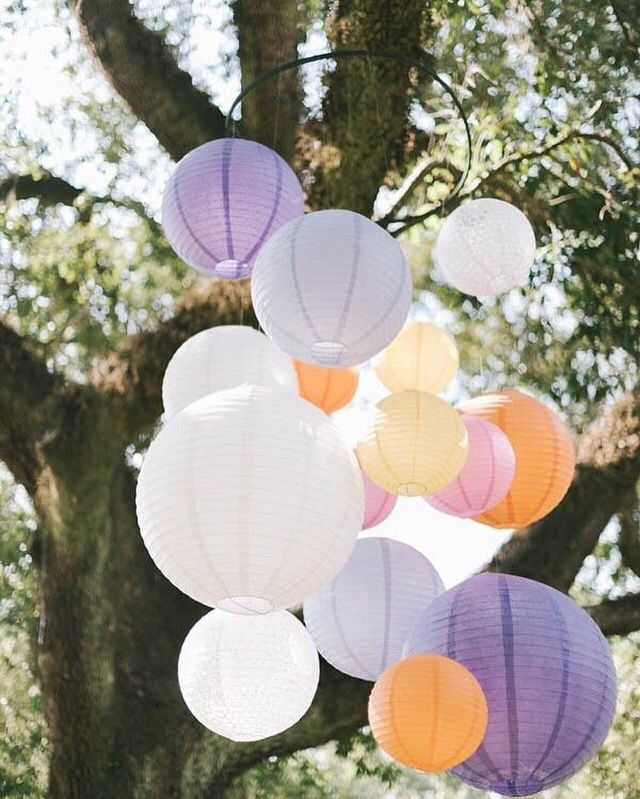 Lampionnen in tros gebundeld. Ook een leuke manier om je feest mee te decoreren!   #lampion #wedding #versiering #party #bruid #decoration #events #eventstyling #marriage #weddingideas #trouwen #huwelijk #styling #gardenparty #lanterne #pastel  Lampionnen in tuin, garden wedding paper lanterns. Outdoor wedding decoration Bruiloftsversiering Trouwideeen Marriage Ideas Huwelijks decoratie  Decoration de mariage