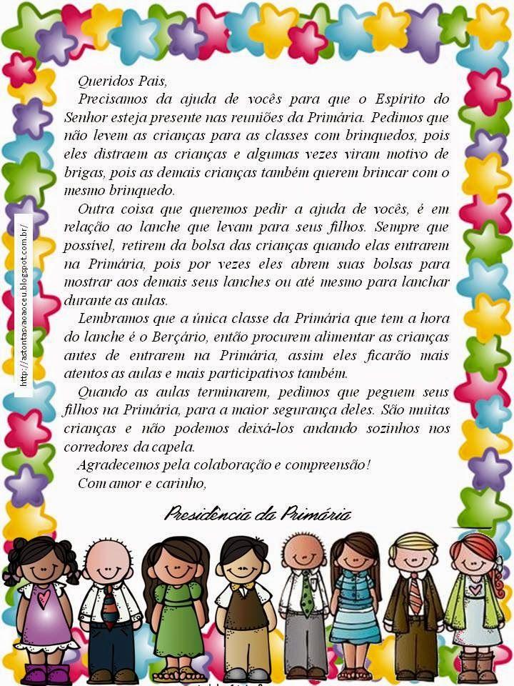 As Tontas Vão Ao Céu: Carta para Pais das Crianças da Primária Falando S...