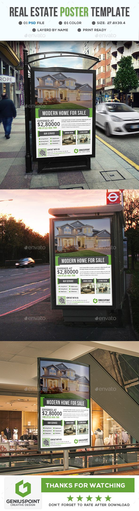 Real Estate #Poster Template - #Signage Print Templates