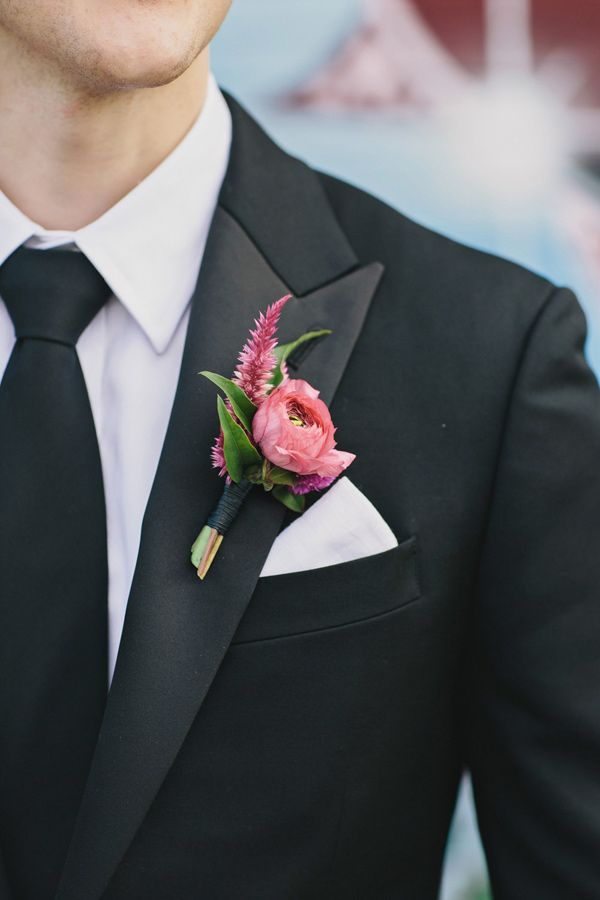 boutonniere (Flowers: Sprout Home) - Romantic Brooklyn Winery Wedding by  Clean Plate Pictures - via ruffled