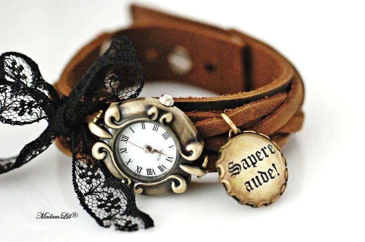 Skórzany zegarek handmade  ♥ Sapere aude ♥ #Ribell #MadameLili >> Wybierz Twój na: https://www.ribell.pl/zegarki-recznie-robione-handmade