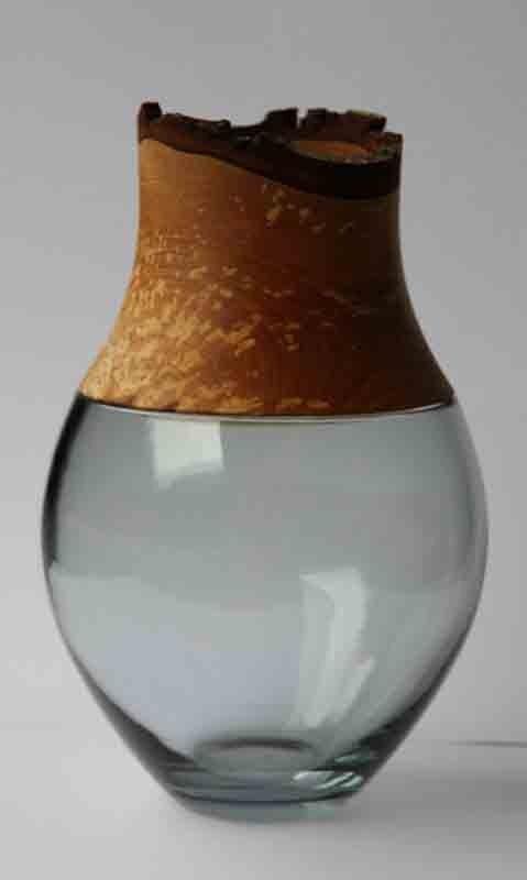 handblown glass and handturned wood vase