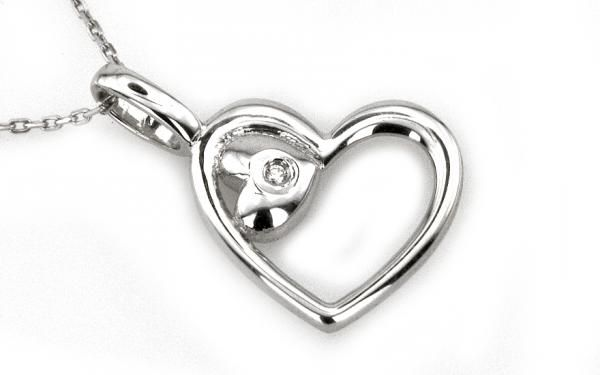 "Diamantový náhrdelník ,,Heart"" zo 14 karátového bieleho zlata"