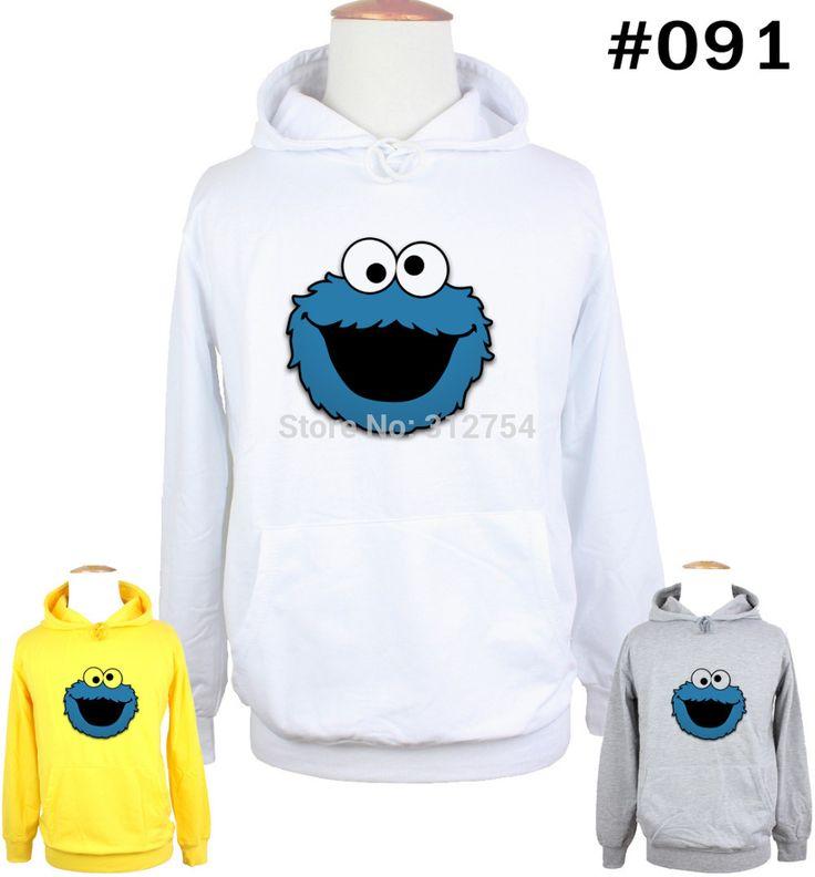 Unisex Cute Funny Blue COOKIE MONSTER Design Hoodie Men's Boy's  Women's Lady's Girl's Sweatshirt Tops Printed Hoody