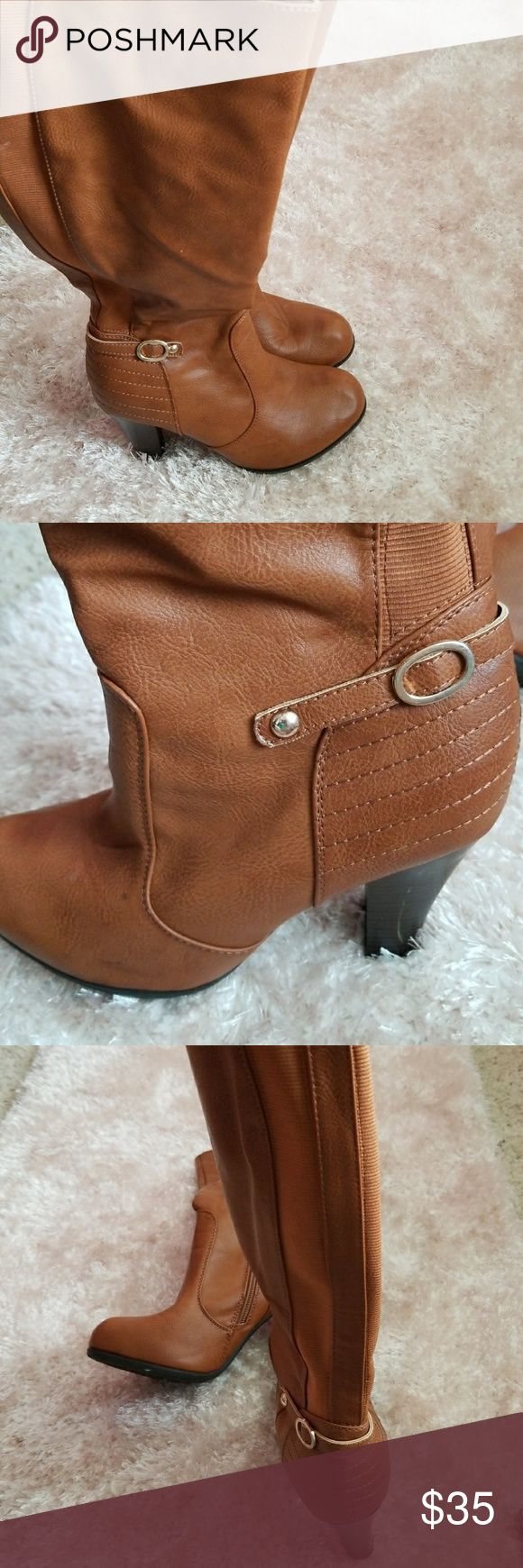 Women's long Light Brown  Boots Long Brown Boots size 8 Sinthetic upper Balance Man Made De Blossom Collection De Bloosom Collection Dove 5 Shoes Heeled Boots