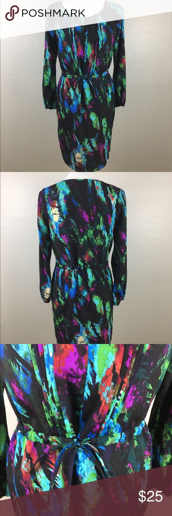 Charlie Jade Long Sleeve Printed Dress EUC. Features front button details and adjustable tie waist. Charlie Jade Dresses