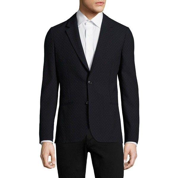 Paul Smith Micro-Dot Print Wool Jacket (2.323.625 COP) ❤ liked on Polyvore featuring men's fashion, men's clothing, men's outerwear, men's jackets, men's sherpa lined jacket, mens wool lined jacket, mens jackets, mens wool jacket and mens wool outerwear