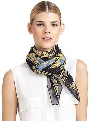 Versace Silk Chiffon Baroque Scarf