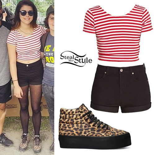 Tay Jardine Leopard Platform Sneakers Outfit. Cropped striped black high waisted shorts ...