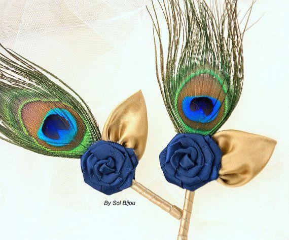 O azul marino turquesa Tan pavo real plumas novio