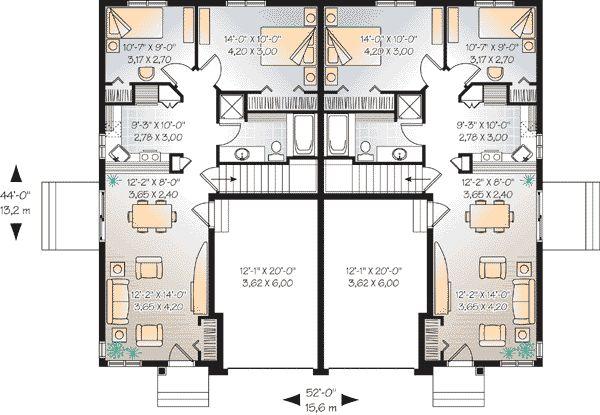 First Floor Plan of Multi-Family Plan 65579