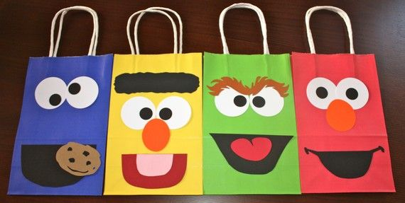 Handmade Sesame Street Kids Birthday Party Theme Treat Goody Favor Gift Bags via Etsy