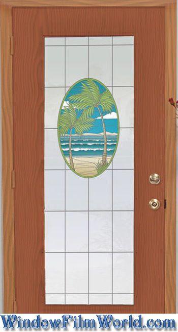 Island Oasis Stained Glass Privacy Window Film from WindowFilmWorld.com