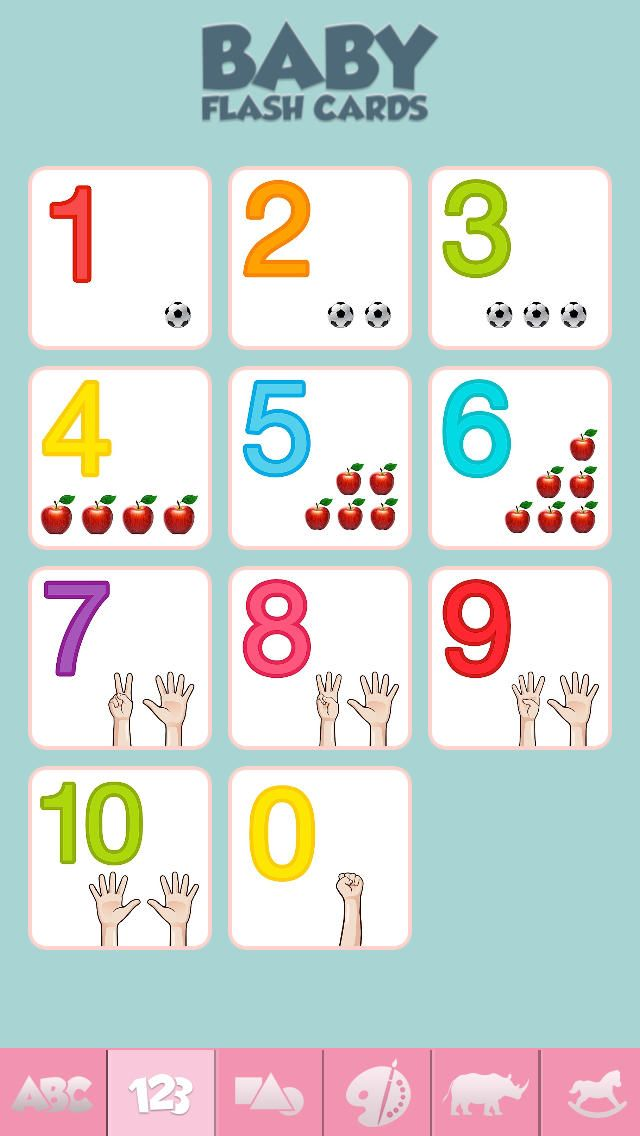 Baby Flash Cards - Game for Learning Alphabet, Numbers, Shapes, Colors, and More  • The app includes over 500 gorgeous flashcards  • The flashcards are grouped into six unique categories to help babies and toddlers learn their abc, numbers, shapes, colors, animals, and first words.  • The app includes multiple examples for each of the letters, numbers, and colors to reinforce learning and keep kids engaged.  • Over 100 beautiful flashcards can be experienced for free.