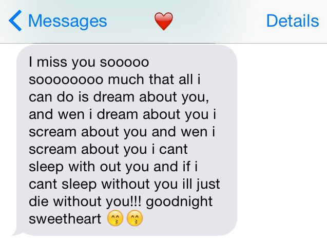 Sweet goodnight text