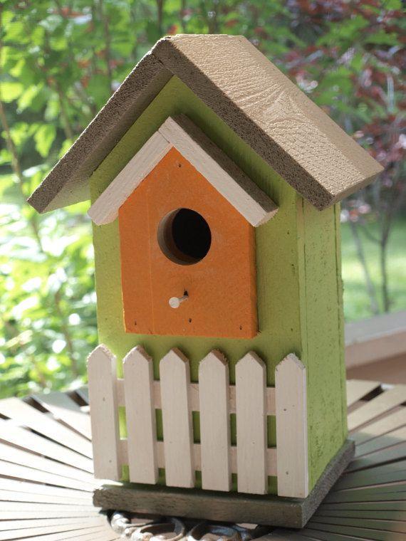 Birdhouse with White Picket Fence by TheColeFamilyGarage on Etsy