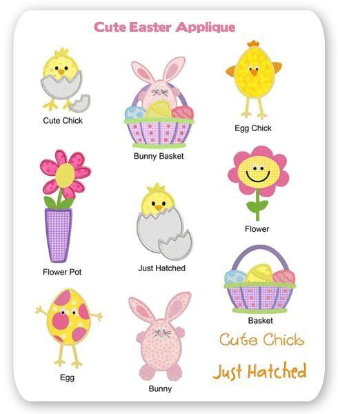 Cute Easter Embroidery Applique Designs Bunny Spring