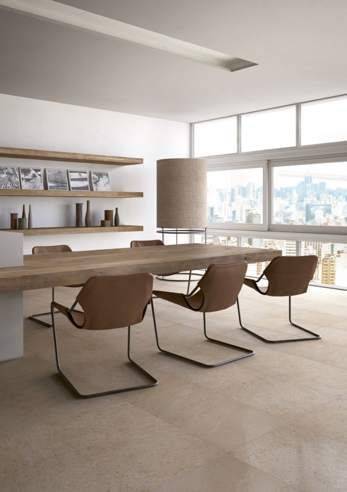 Edilcuoghi Sandstone. #table #contemporary #light #sun #wood #effettolegno #design #gres #edilcuoghi #kitchen #chair #glass #wall #sun
