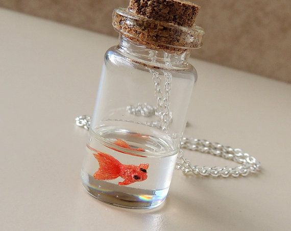 Goldfish Bottle Necklace, Miniature Fish Swimming in Resin Water inside a Glass…