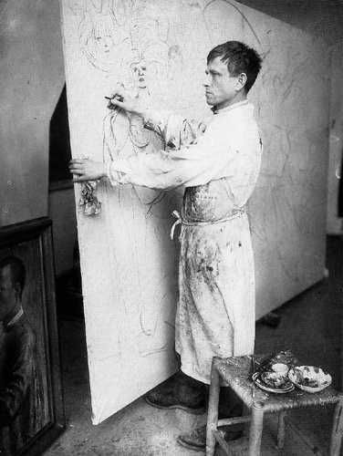 Otto Dix, working on one of his masterpieces, Grossstadt.