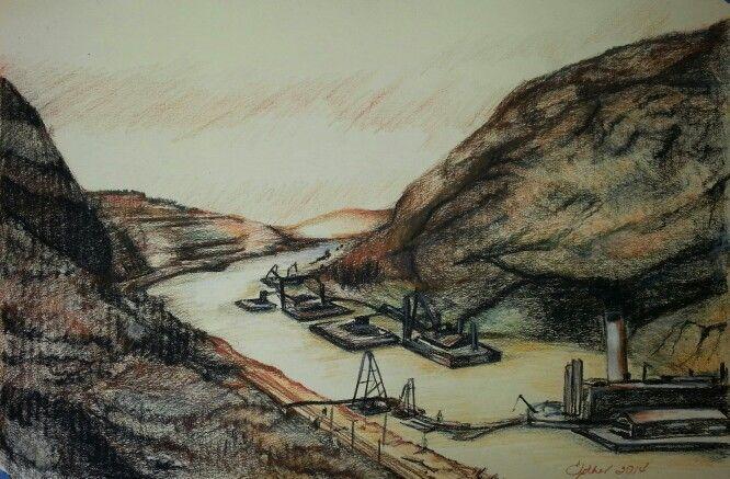 Dibujo del canal de Panamaen pastel carboncillo y