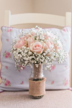 Bouquet Flowers Bride Bridal Rose Gyp Gypsophila Baby Breath Hessian Burlap Fresh Pink Barn Wedding http://www.charlotteleysphotography.co.uk/