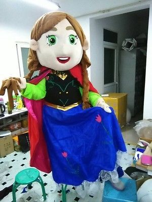 New princess Anna Frozen Mascot Costume Fancy Dress Adult Suit Size R169