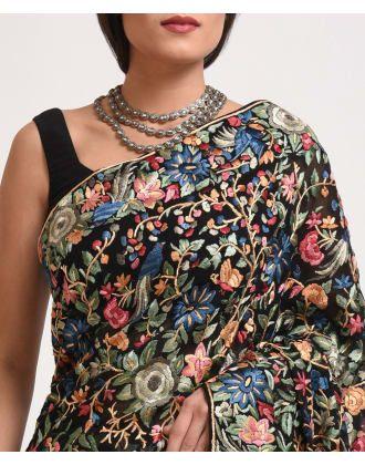 Masterpiece Black Parsi Gara Hand Embroidered Pure Georgette Saree