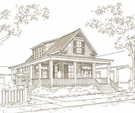 This is the 200 Madison Street house plan by Our Town Plans, and it's a beauty! This plan is roughly 1,719 square feet with 2 bedrooms and 2.5 bathrooms. Don't you just love the wrap around porch? ...
