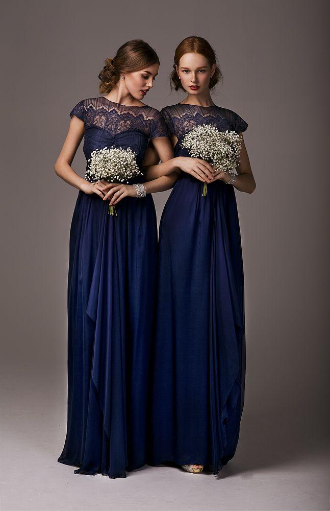 Midnight blue lace bridesmaid dresses