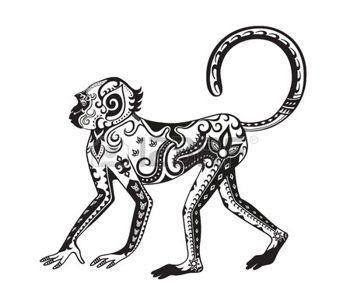 tribal monkey: The stylized figure of an monkey in the festive patterns